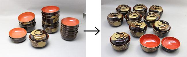 雑煮椀の内側を朱漆塗り直し