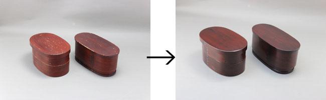 曲げわっぱ弁当箱の拭き漆修理