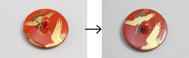 屠蘇器の部分修理 ※写真は銚子の蓋