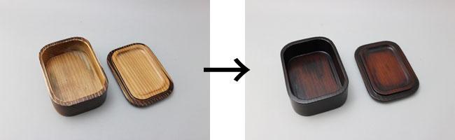 焼杉のお弁当箱を拭き漆修理