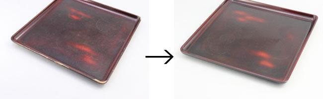 角盆の部分漆塗り修理