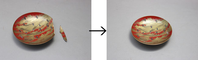 盃の欠け修理と蒔絵復元
