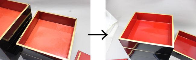 木製重箱の塗り直し、天縁を本金蒔絵描き直し
