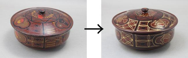 菓子鉢の漆塗り直しと蒔絵復元