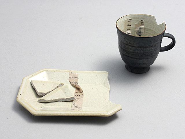 陶器の金継ぎ お皿とコーヒーカップ