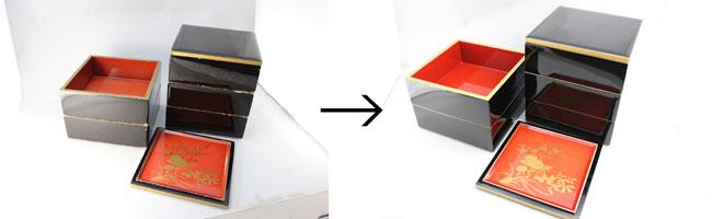 お重箱の漆塗り修理
