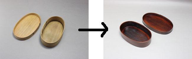 曲げわっぱ弁当箱 白木地から拭き漆塗り直し