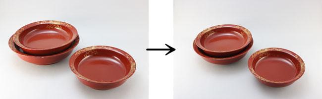 盛鉢の部分漆塗り修理