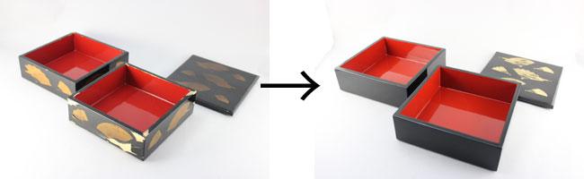 重箱の塗り直しと蓋の蒔絵