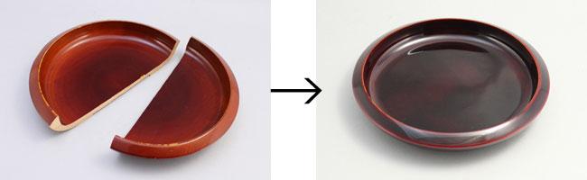 菓子鉢の接着と漆塗り修理
