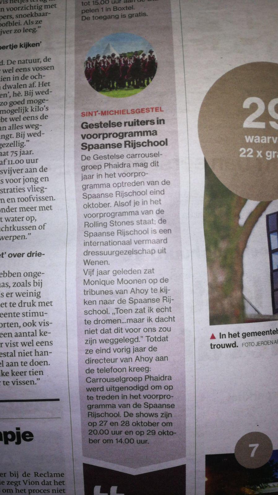 Artikelen Ahoy Brabants Dagblad en Regio krant