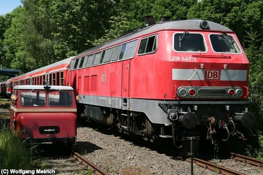 Die Bahnmeisterdraisine und die Hauptdarstellerin 218 447-1