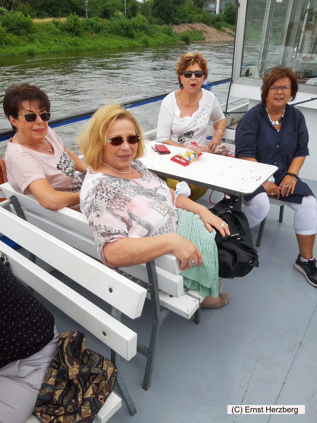 Unsere Reisegruppe mit Sonnenschein auf der Elbe unterwegs