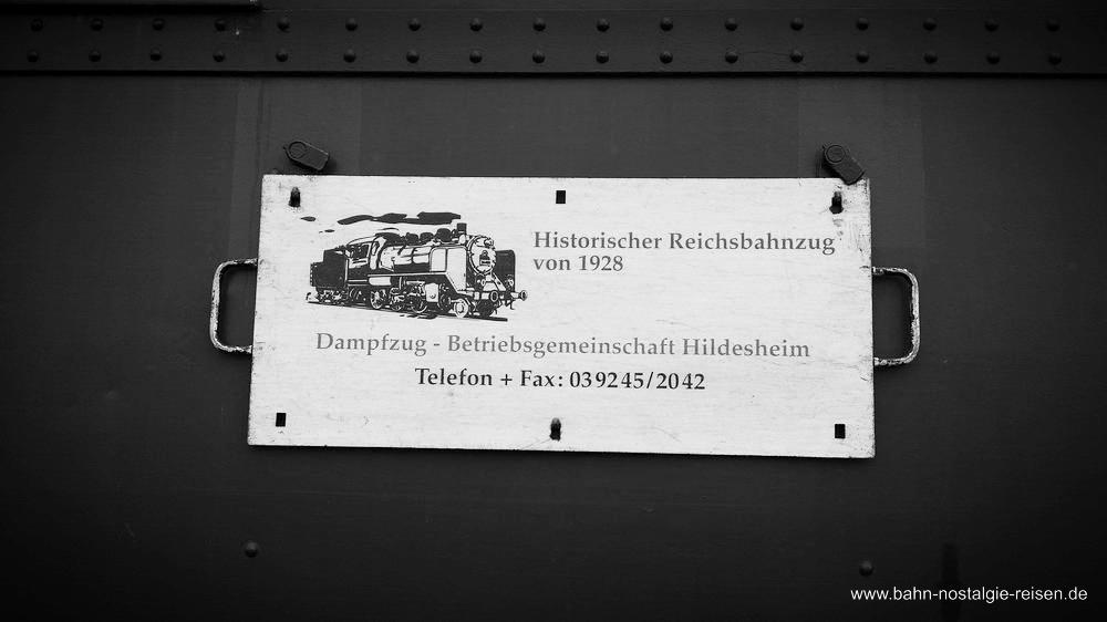 Beschriftung der Dampfzug-Betriebs-Gemeinschaft Hildesheim e.V.