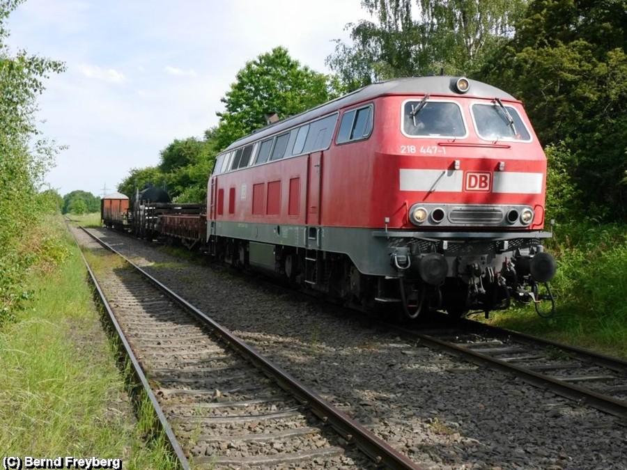 218 447-1 bespannt einen Güterzug ab Klein Mahner