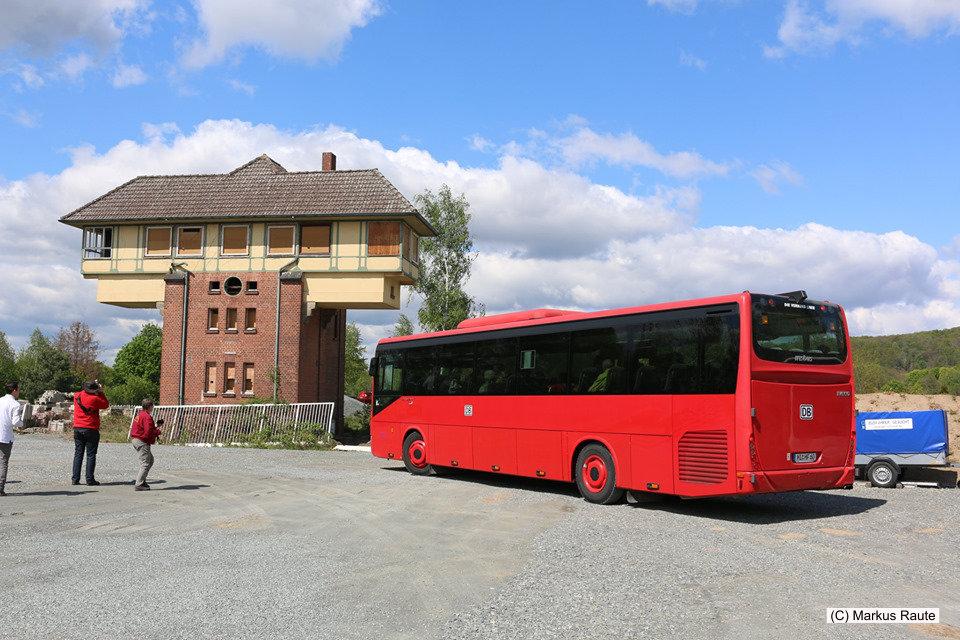 Der Rote Bahnbus am Vienenburger Pilzstellwerk