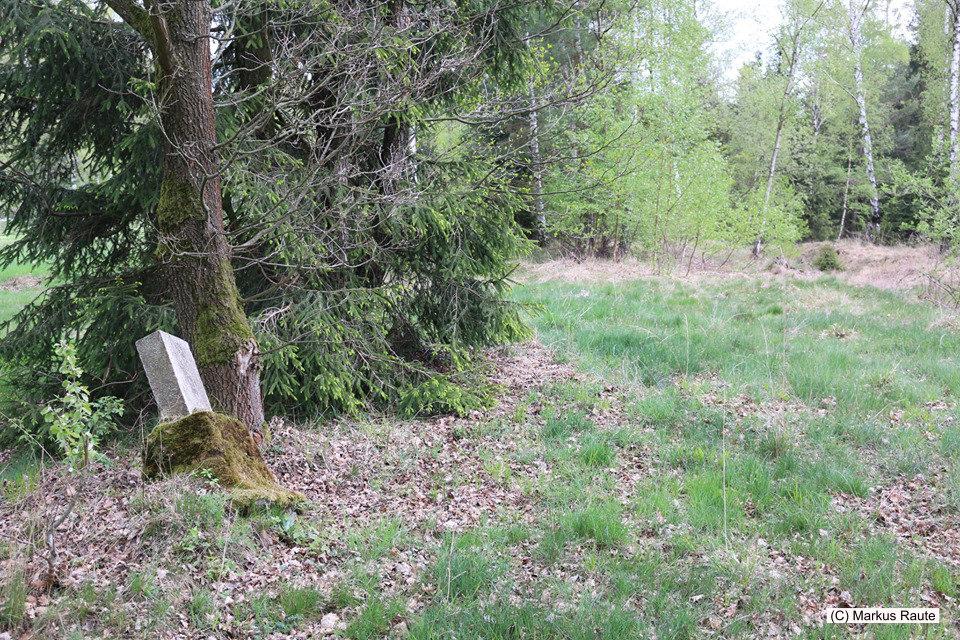 """Am Fuße des Innerstestaudamms, wo noch immer die Trasse der """"alten"""" Innerstetalbahn samt altem Kilometerstein auszumachen ist"""