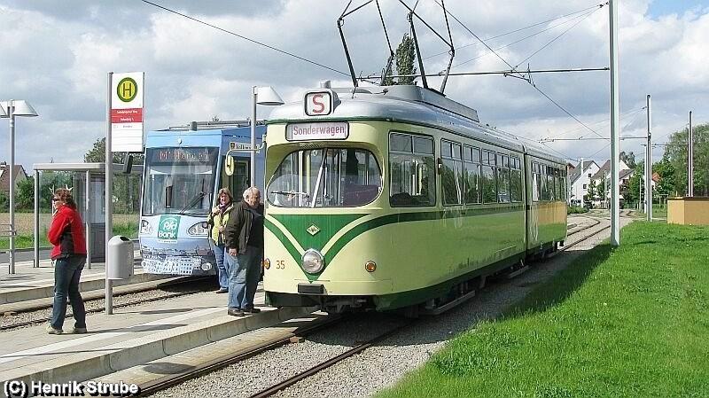 Museumsgelenkwagen TW 35 am Wendepunkt Braunschweig Stöckheim