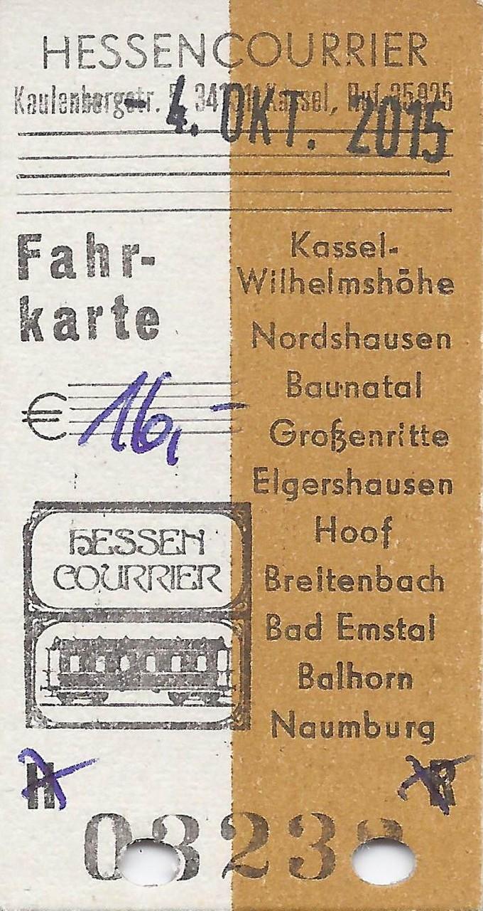 Die Fahrkarte vom Dampfzug