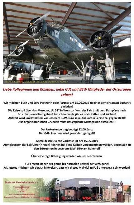 Mit GDL und BSW Ortsgruppe Lehrte auf Tagesfahrt / Rückblick