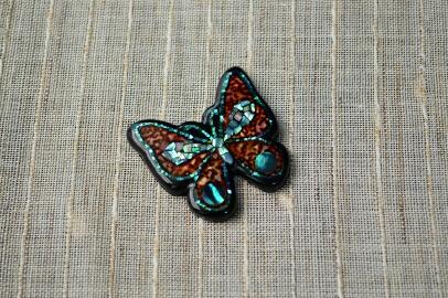 螺鈿・蝶のブローチ/ Butterfly brooch