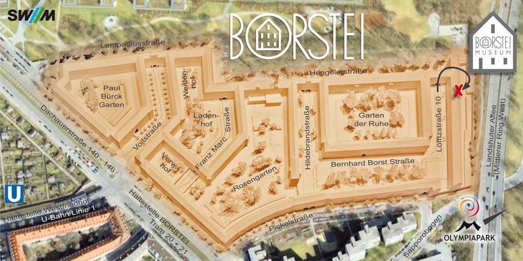 Das Borstei-Museum finden Sie rechts oben auf dem Plan im Industriehof.