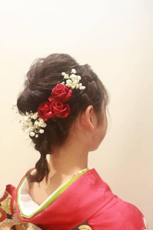 【2021年1月11日成人式】ヘアセット、着付け、メイク、生花の髪飾りをさせていただきました。