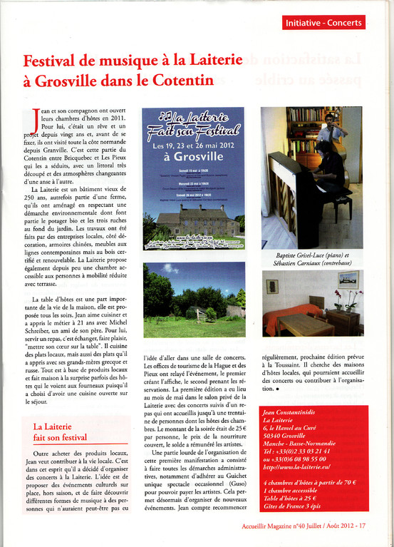 "Article ""Accueillir Magazine"""