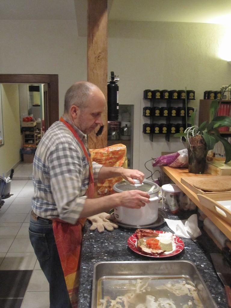 Je dresse une assiette de homard pour le réveillon du 31 décembre 2012.