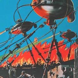 """Ausschnitt eines Covers des Pulp-Magazins """"Amazing Stories"""" von 1927, das die Kampfmaschinen aus """"The War of the Worlds"""" von H. G. Wells zeigt"""