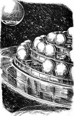 """""""Glo"""" und die Raumstation aus Kurd Laßwitz, """"Auf zwei Planeten"""" (1897), Illustration von Walter Zeeden"""