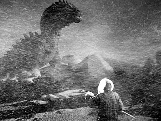 "Rhedosaurus in einem Szenenfoto vom Film ""Panik in New York"" (The Beast from 20.000 Fathoms, USA 1953)"