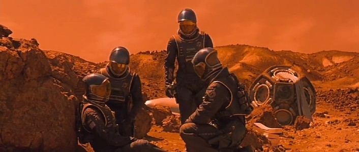 Red Planet (USA 2000) Szenenbild mit der Crew auf dem Mars