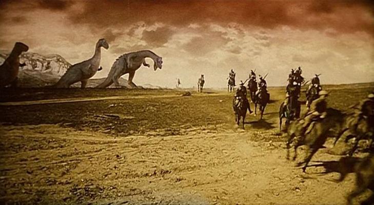 """Szenenfoto aus dem Film """"Auf dem Kometen"""" (Na Komete, CSSR 1970) von Karel Zeman; Dinosaurier"""