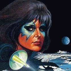 """Ausschnitt aus dem Buchcover von """"Ein Mord auf dem Mond"""" (The Patchwork Girl, 1980) von Larry Niven; Bastei-Lübbe-Verlag 1983"""
