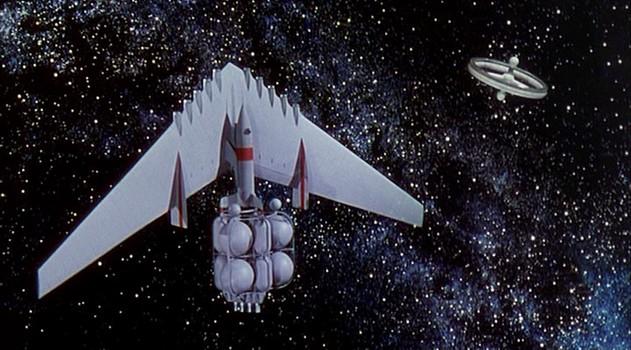 """Szenenfoto aus dem Film """"Die Eroberung des Weltraums"""" (Conquest of Space, USA 1955) von George Pal und Byron Haskin; Modell vom Marsschiff"""