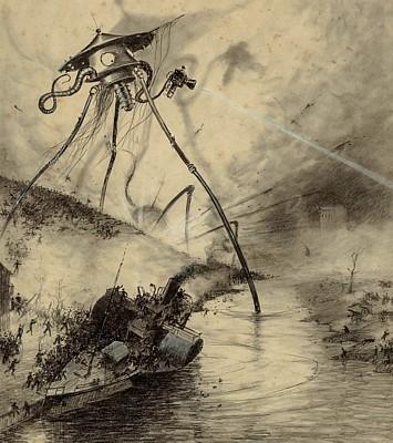 Ein marsianischer Dreibeiner aus H. G. Wells, Krieg der Welten, in einer Illustration von 1903 von Henrique Alvim Correa