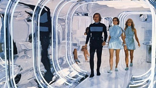 Flucht ins 23. Jahrhundert (Logan's Run) Szenenbild mit Michael York, Jenny Agutter und Farah Fawcett