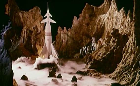 """Szenenfoto zu dem Film """"Assignment Outer Space"""" (Space Men, Italien 1960) von Antonio Margheriti; die BZ-88 auf dem Mars"""
