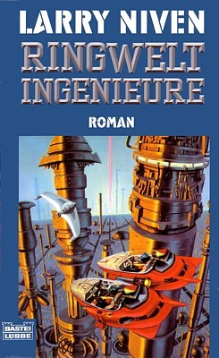 "Buchcover des Romans ""Ringwelt-Ingenieure"" (The Ringworld Engineers, 1980) von Larry Niven in der Ausgabe des Bastei-Lübbe-Verlags 1998"
