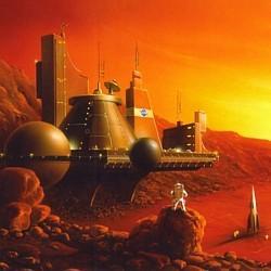 """Ausschnitt vom Buchcover des Buchs """"Marsfieber"""" (2003) von Rainer Eisfeld und Wolfgang Jeschke"""