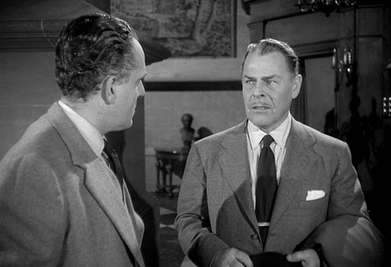 """Szenenfoto aus dem Film """"Feinde aus dem Nichts"""" (Quatermass 2, GB 1957) von Val Guest; Brian Donlevy und Tom Chatto"""