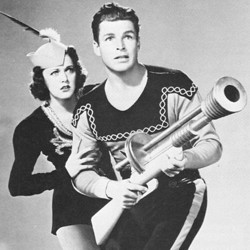 "Pressefoto zum Kinoserial ""Flash Gordon Conquers the Universe"" (USA 1940); Carol Hughes als Dale Arden und Larry ""Buster"" Crabbe als Flash Gordon"