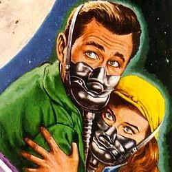 """Ausschnitt vom Cover des Heftromans von Bert Koeppen: """"Rakete Mond startet"""" (1958), Utopia Großband 84"""
