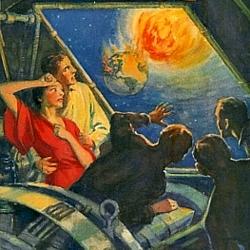 """Cover des Romans """"When Worlds Collide"""" von Edwin Balmer und Philip Wylie (Frederick A. Stokes Company 1933; Bildausschnitt)"""