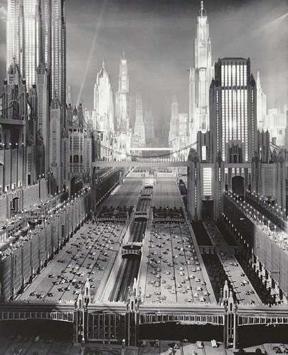 """Foto von der Produktion des Films """"Just Imagine"""" (USA 1930) von David Butler; Modell vom New York des Jahres 1980; Metropolis"""