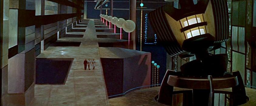 """Szenenfoto aus dem Film """"Alarm im Weltall"""" (Forbidden Planet, USA 1956) von Fred McLeod Wilcox; der Maschinenpark der Krell"""