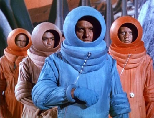 Flight to Mars (USA 1951) Szenenfoto von Morris Ankrum und anderen als Marsianer in Raumanzügen