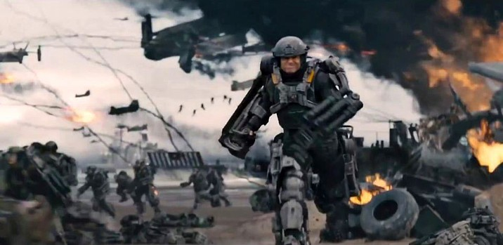 "Szenenfoto aus dem Film ""Edge of Tomorrow"" (USA/GB 2014) von Doug Liman; Tom Cruise im Gefecht am Omaha Beach"