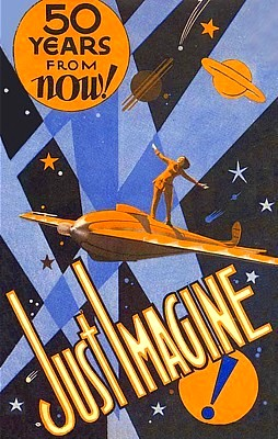 "Werbe-Illustration für den Film ""Just Imagine"" (USA 1930) von David Butler"